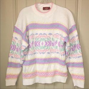 vintage Rainbow pastel floral fairy kei sweater M